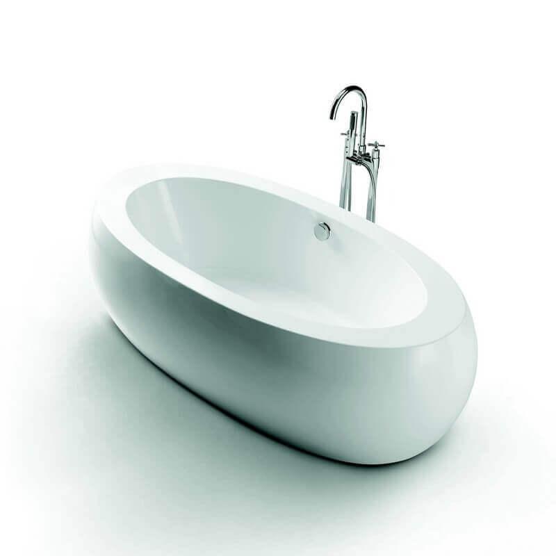 Grande baignoire oeuf lot ovale 190x93 cm acrylique blanc ove for Baignoire ilot oeuf
