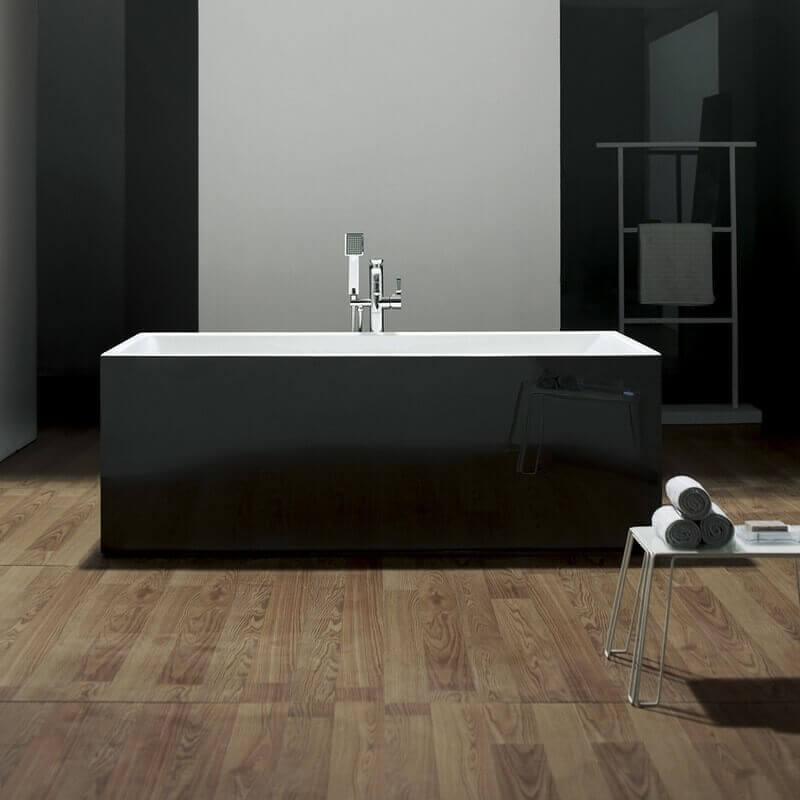Baignoire lot rectangulaire 170x80 cm acrylique blanc noir line - Evacuation baignoire ilot ...