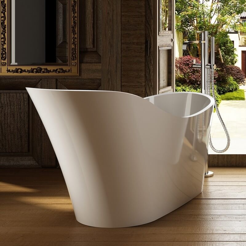 Baignoire lot ovale 170x73 cm avec dosseret acrylique blanc cosy Baignoire acrylique salle bains