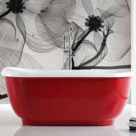 Baignoire Ilot Ovale, Rouge 170x75 cm, acrylique blanc & rouge, Charmed