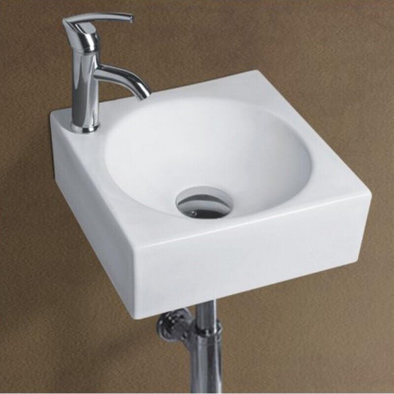 Petit lave main carr suspendu 28x28x16 cm c ramique blanc - Carre blanc soldes ...