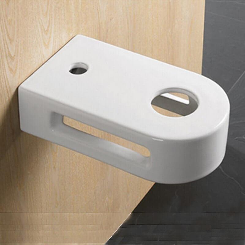 Vasque Céramique à Suspendre Avec Plage Latérale : Support lavabo vasque avec porte serviette intégré