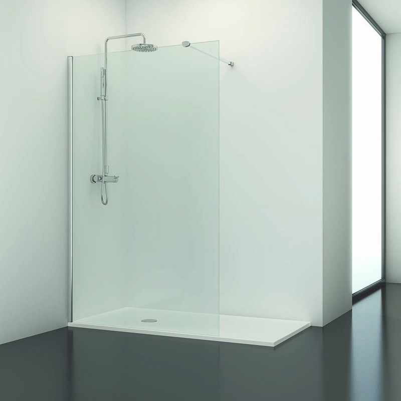 Paroi de douche fixe 100 x195 cm verre transparent line - Paroi de douche 100 cm ...