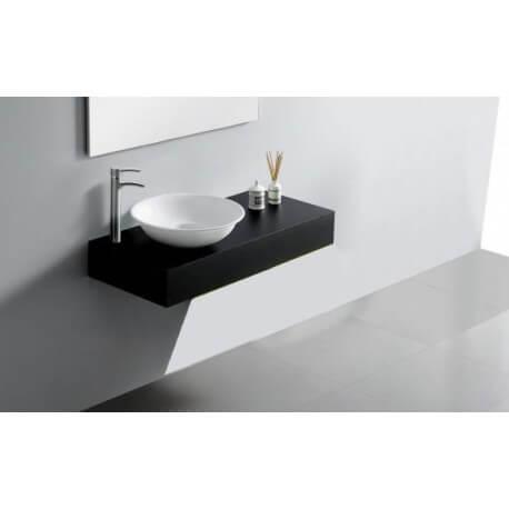 Plan Vasque Salle de Bain Laqué, 120x50 cm, Noir brillant, ARTcolor