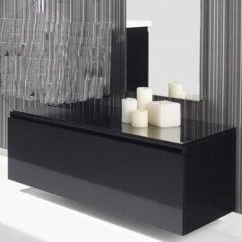 meuble bas de rangement 1 tiroir 90x50 cm laqu blanc brillant artcolor - Meuble Tiroirs Rangement Salle De Bain