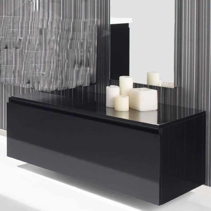 Meuble bas rangement 90x50x30 cm 1 tiroir laqu blanc noir artcolor - Meuble bas rangement salle de bain ...