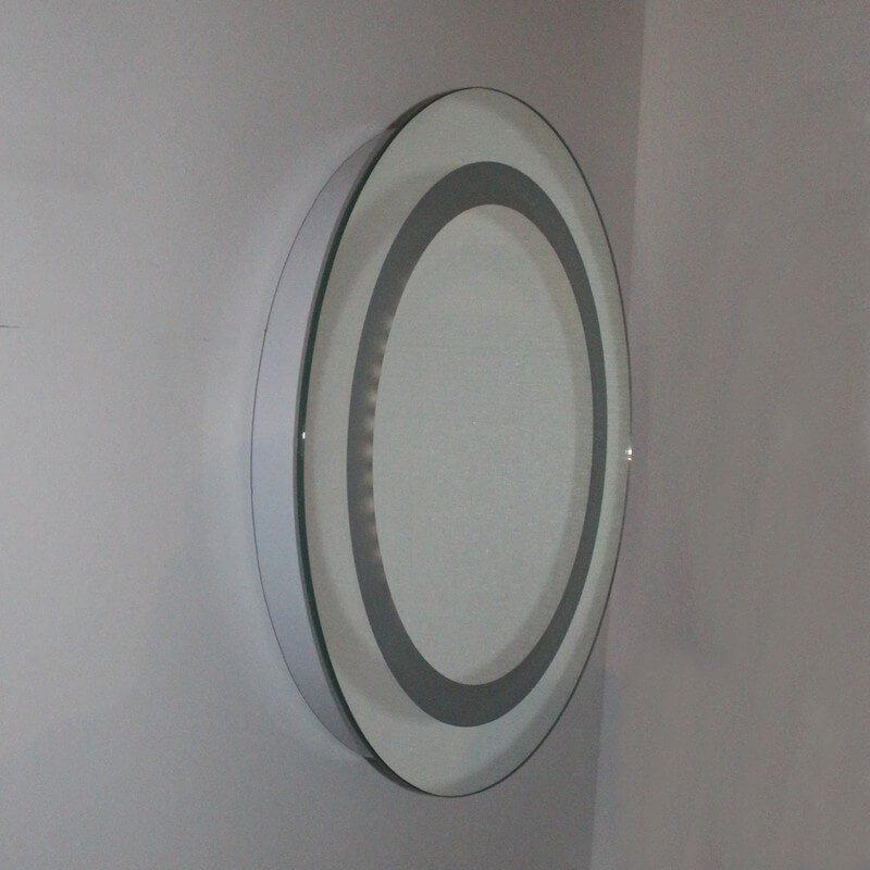 Miroir salle de bain rond 50 cm clairage led allumage for Miroir rond 50 cm