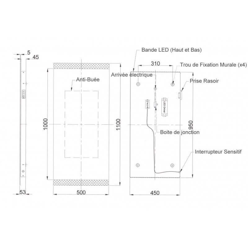 Miroir salle de bain 50x110 cm led antibu e allumage - Miroir eclairant salle de bain ...