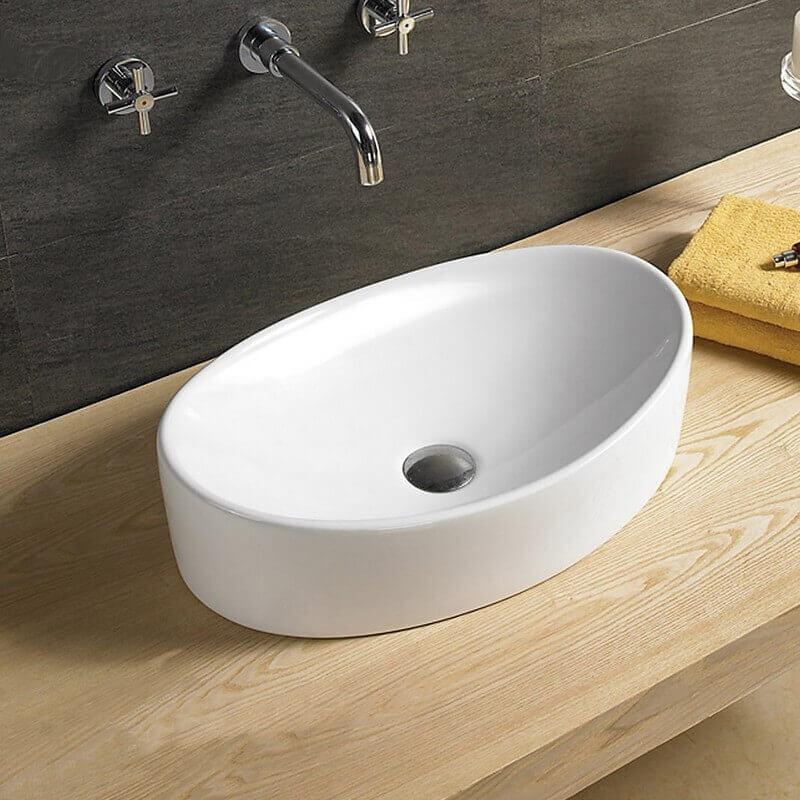 vasque ovale c ramique blanc wave vasque poser ovale. Black Bedroom Furniture Sets. Home Design Ideas