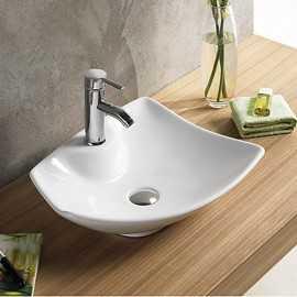 Vasque à Poser avec Plage de Robinetterie, 48x38 cm, Céramique, Feuille