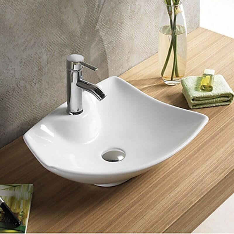 vasque a poser salle de bain Vasque à Poser avec Plage de Robinetterie - Céramique Blanc Brillant -  49x38 cm - Feuille