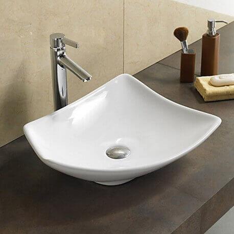Vasque à poser asymétrique céramique Feuille | Rue du Bain