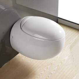 WC Suspendu Oeuf Blanc avec Abattant Ove | Rue du Bain