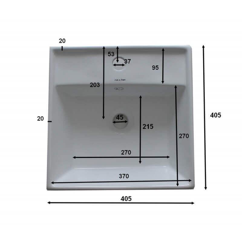 vasque poser carr e semi encastr e 41x41 cm cm c ramique. Black Bedroom Furniture Sets. Home Design Ideas