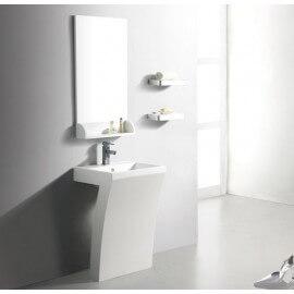 Lavabo Totem rectangulaire, 58x83 cm, Composite Blanc Mat, Slide