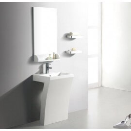 Lavabo Totem Rectangulaire - Solid surface Blanc Mat 58x83 cm - Slide