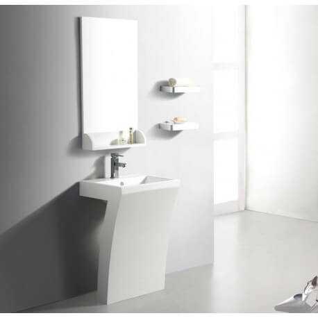 Lavabo Totem Rectangulaire - Solid surface Blanc Mat 58x83 cm - Slide