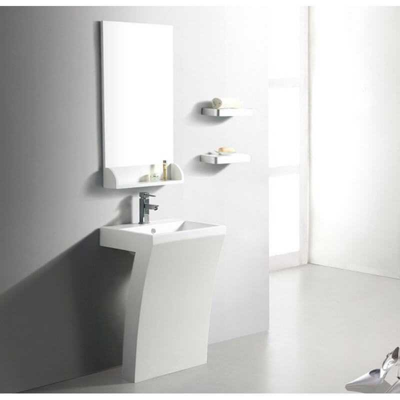 lavabo totem rectangulaire 58x83 cm composite blanc mat slide. Black Bedroom Furniture Sets. Home Design Ideas