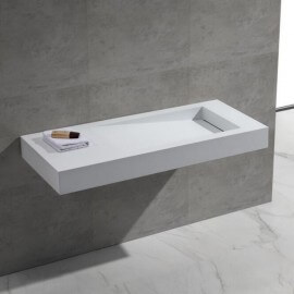 Lavabo suspendu - Solid surface Blanc Mat - 120x50 cm - Feel
