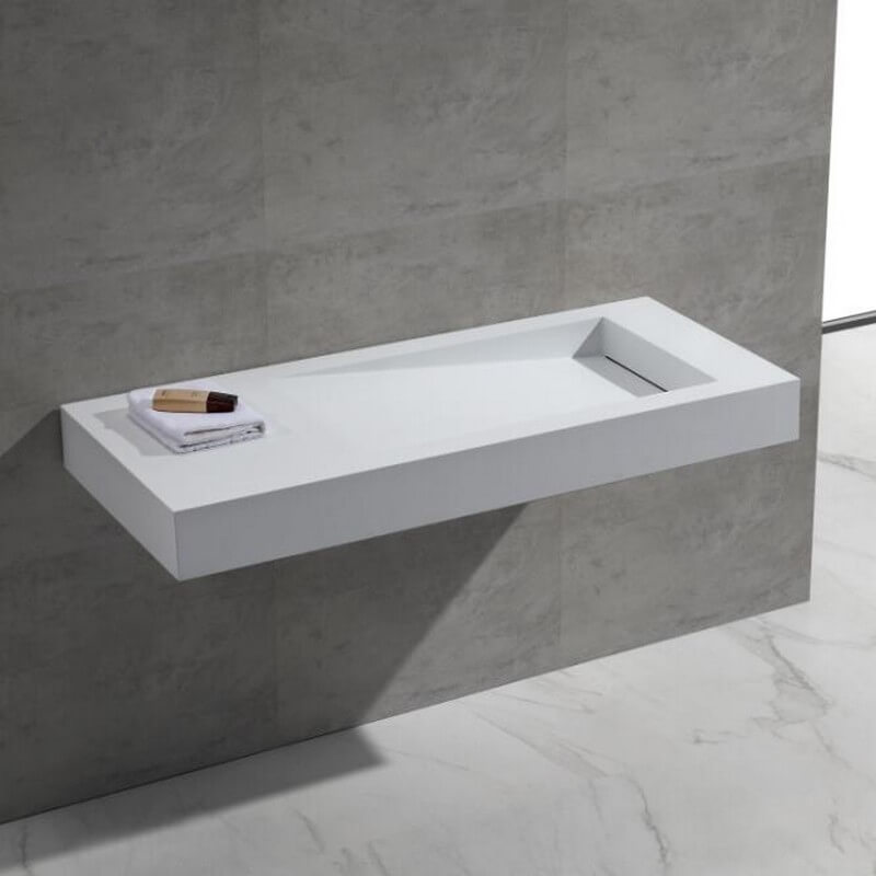 Lavabo suspendu rectangulaire blanc mat 120x50 composite feel for Salle de bain design avec lavabo suspendu
