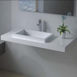 Lavabo Suspendu Rectangulaire Blanc Mat, 90x45 cm, Composite, Lignum