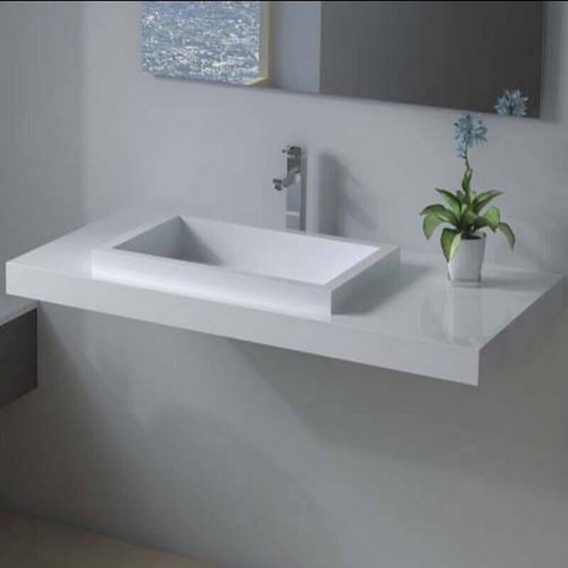 Lavabo suspendu rectangulaire 90x45 cm corian blanc mat lignum - Lavabos salle de bain ...