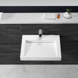 Lavabo Suspendu Rectangulaire Blanc Mat, 60x45 cm,Composite, Soft