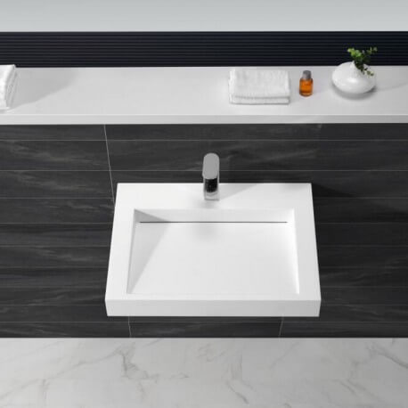Lavabo Suspendu Rectangulaire - Solid surface Blanc Mat - 60x46 cm - Soft