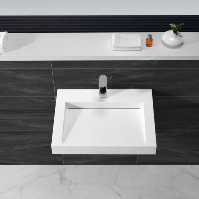 lavabo suspendu rectangulaire 60x45 cm blanc mat composite soft. Black Bedroom Furniture Sets. Home Design Ideas