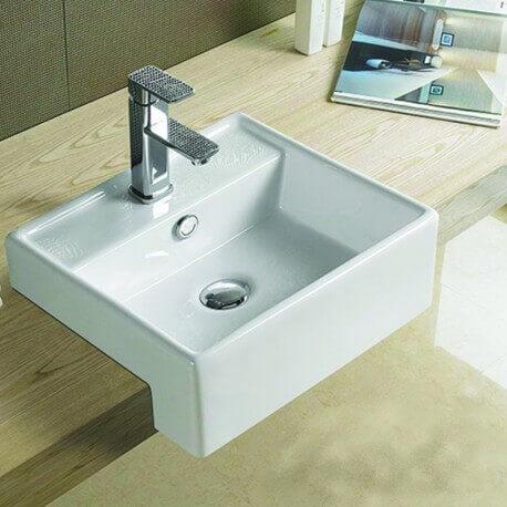 Vasque poser carr e semi encastr e 41x41 cm cm c ramique blanc pure - Evier ancien ceramique ...