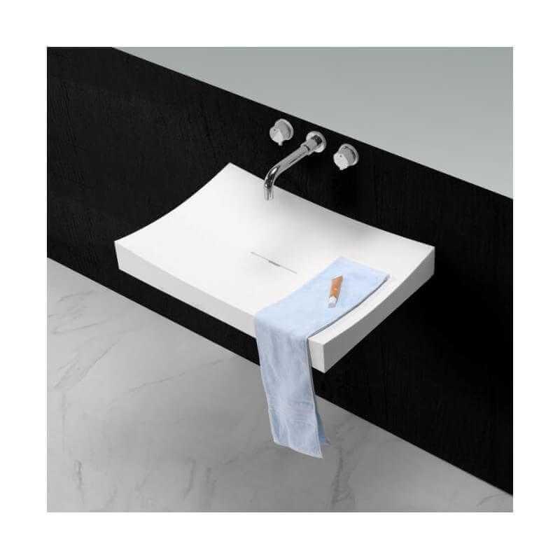 Lavabo suspendu rectangulaire blanc mat 68x45 cm composite unic - Unic design tabouret ...