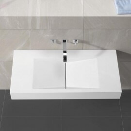 Lavabo Suspendu Rectangulaire Blanc Mat, 100x48 cm, Composite, Graphic