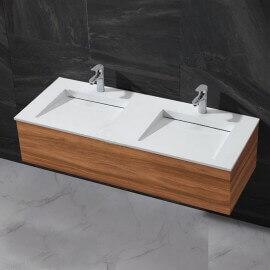 Lavabo à Poser Double Vasque Composite Blanc Mat, 120x50 cm, Duo