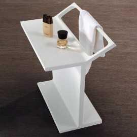 Porte Serviette à Poser Blanc Mat, 69x50 cm, Composite, Minéral