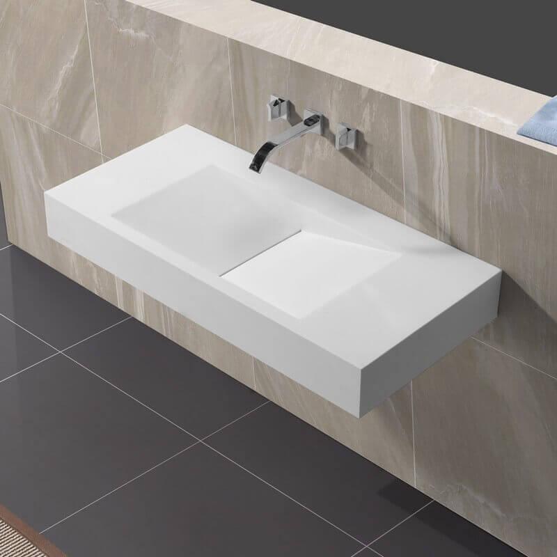 lavabo suspendu rectangulaire blanc mat 100x48 cm composite graphic. Black Bedroom Furniture Sets. Home Design Ideas