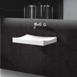 Lavabo Suspendu Rectangulaire Blanc Mat, 68x45 cm, Composite, Unic