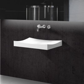 Lavabo Suspendu Rectangulaire - Solid surface Blanc Mat - 68x45 cm - Unic