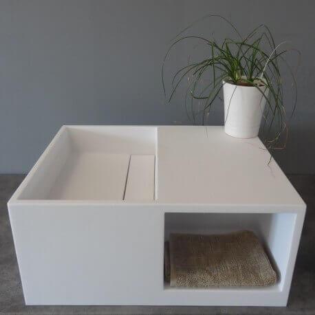 lavabo suspendu avec rangement composite blanc mat Cosi | Rue du Bain
