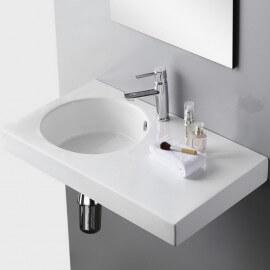 Lavabo Suspendu Rectangle - Céramique Blanc - 82x46 cm -  Day