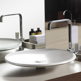 Grande Vasque à Poser Plate, 50x50 cm, Céramique, Loops