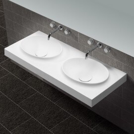 Lavabo Suspendu Double Vasque Moulées Blanc Mat, 120x50cm, Composite, Origin