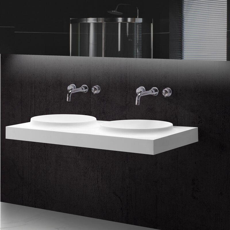 lavabo suspendu double vasques moul es 120x50 cm composite. Black Bedroom Furniture Sets. Home Design Ideas