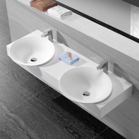 Lavabo Suspendu Double Vasque Moulées Blanc Mat, 140x47 cm, Composite, Effect
