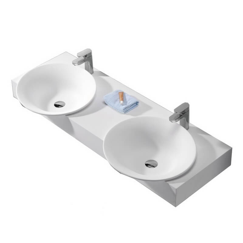 Lavabo suspendu double vasque 140x47 cm composite blanc mat effect - Lavabo double vasque retro ...
