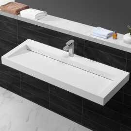 Lavabo Suspendu Rectangulaire Blanc Mat, 120x45 cm,Composite, Urban
