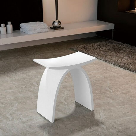 tabouret si ge de salle de bain 42x23cm composite blanc mat mineral. Black Bedroom Furniture Sets. Home Design Ideas