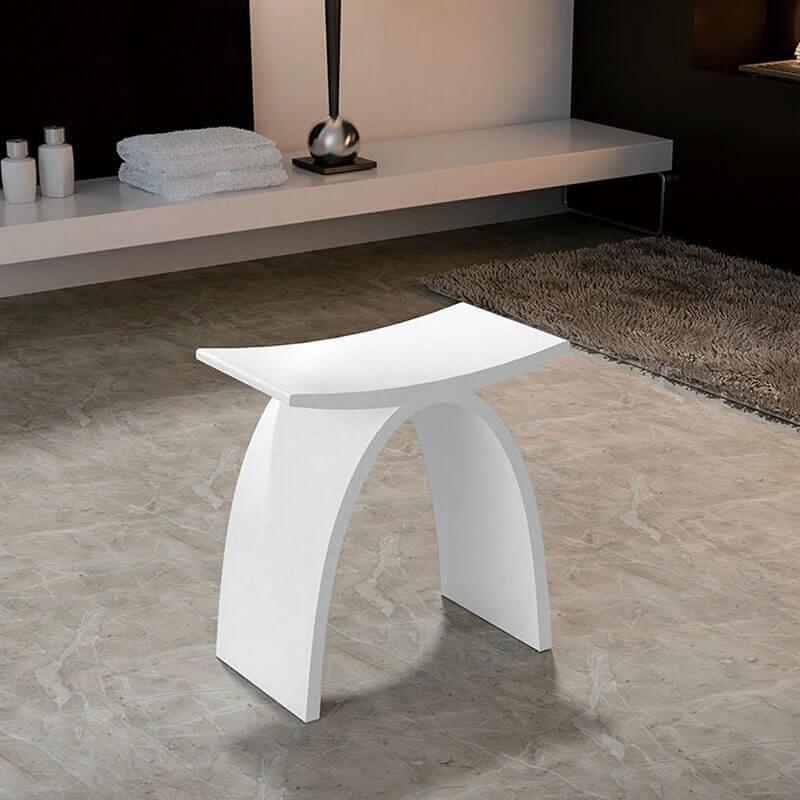 Tabouret Si Ge De Salle De Bain 42x23cm Composite Blanc