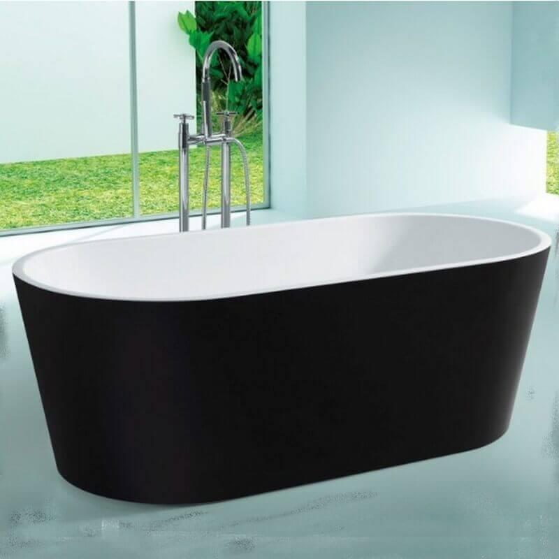 baignoire lot ovale noire blanc 160x80cm volute. Black Bedroom Furniture Sets. Home Design Ideas