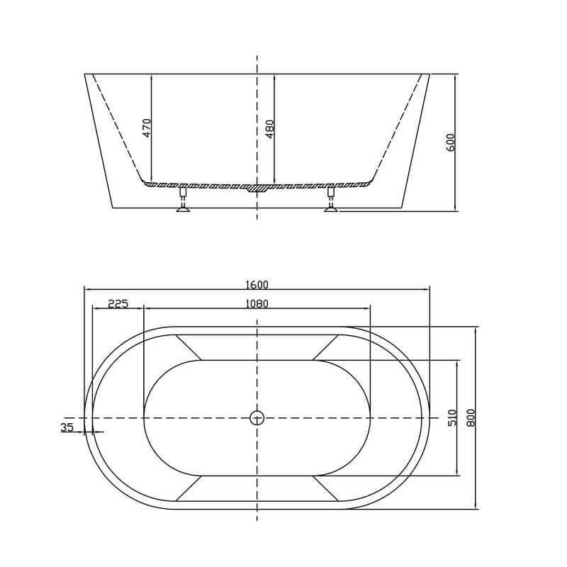 Baignoire lot ovale noire blanc monocoque 160x80cm for Baignoire 160x80