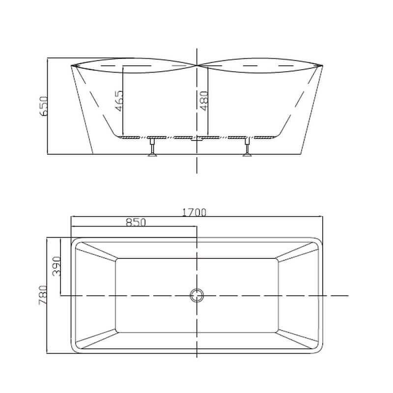 baignoire lot rectangulaire monocoque 170x78 cm acrylique. Black Bedroom Furniture Sets. Home Design Ideas